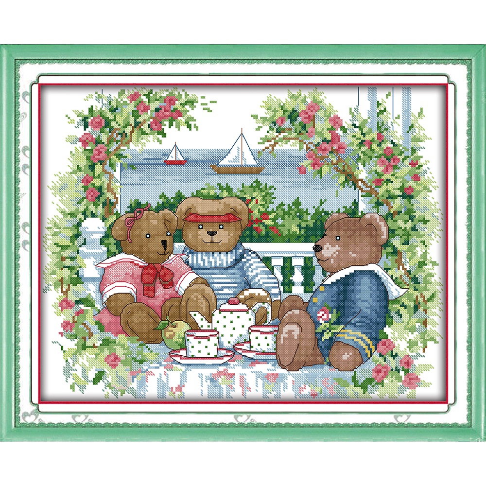 Everlasting love Bear afternoon tea Chinese cross stitch kits Ecological cotton stamped 14 11CT DIY wedding decoration for home