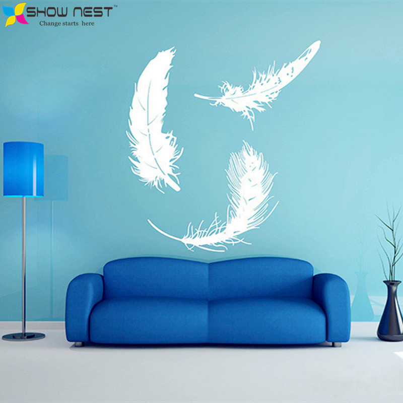 feather wall art sticker, feather decal wall decor, vinyl wall