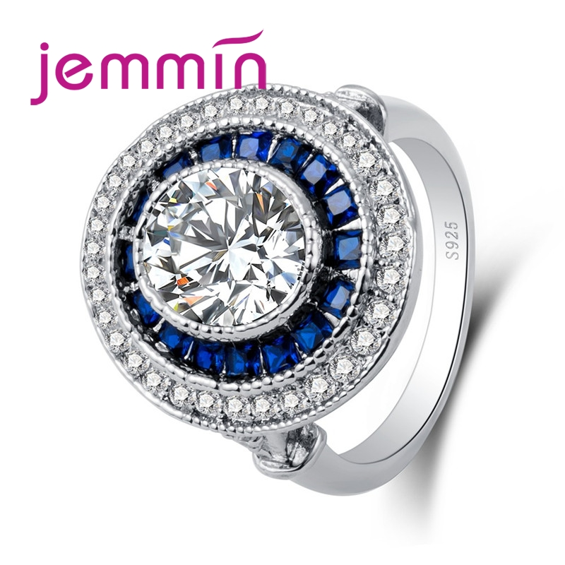Generous Elegant Fashion Lady Full Big Blue White CZ Stone 925 Sterling Silver Roud Ring Jewelry For Women Wholesale