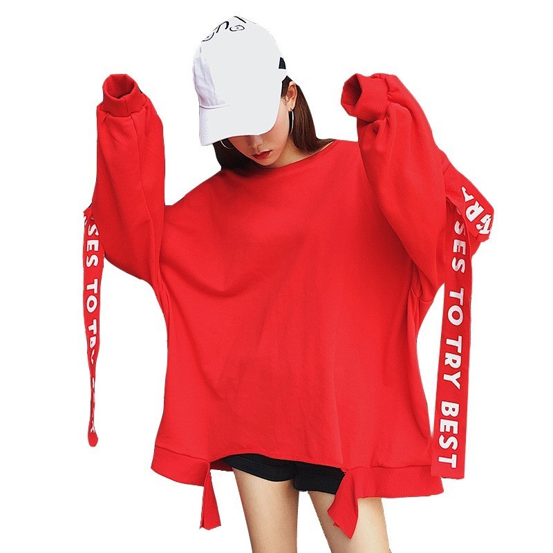 Women Oversized Harajuku Letter Print Ribbons Hoodies Extra Long Sleeves Loose Sweatshirt And Pullovers Korean Kpop Tops