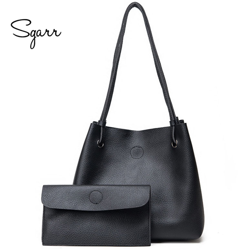 SGARR Women Tote Bag Set Purses 2-Pieces large soft leather bag women handbags ladies Green Brown Black Female Tote Clutch Bags