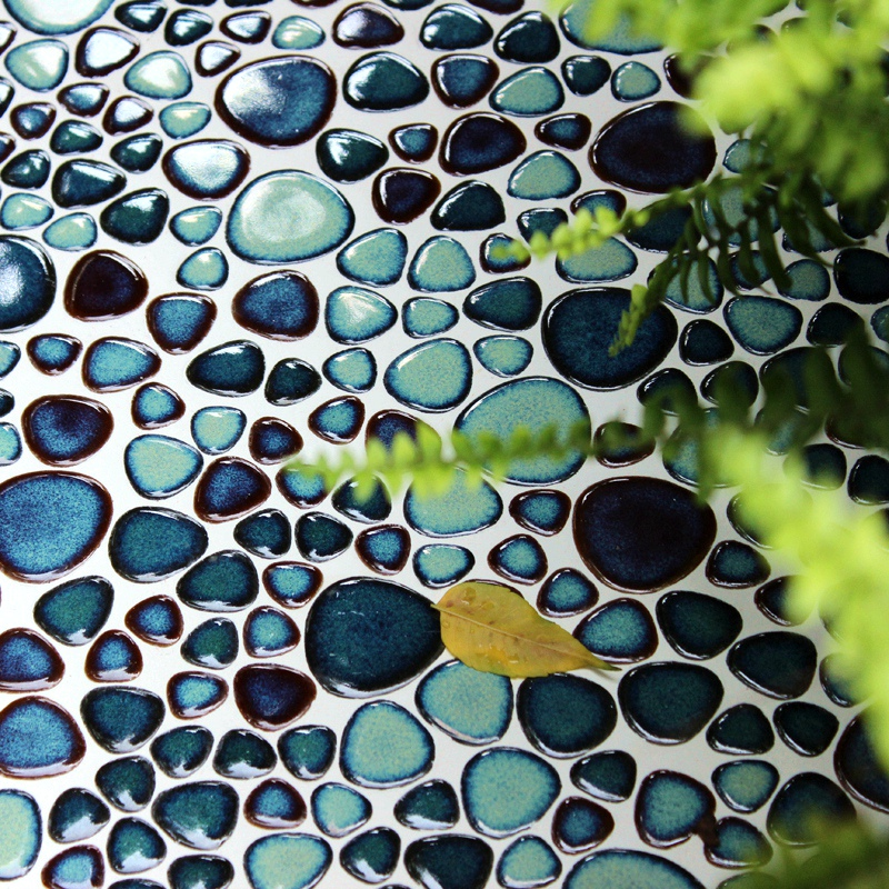 3d Porcelian Sea Blue Pebble Ceramic Mosaic Shower Room