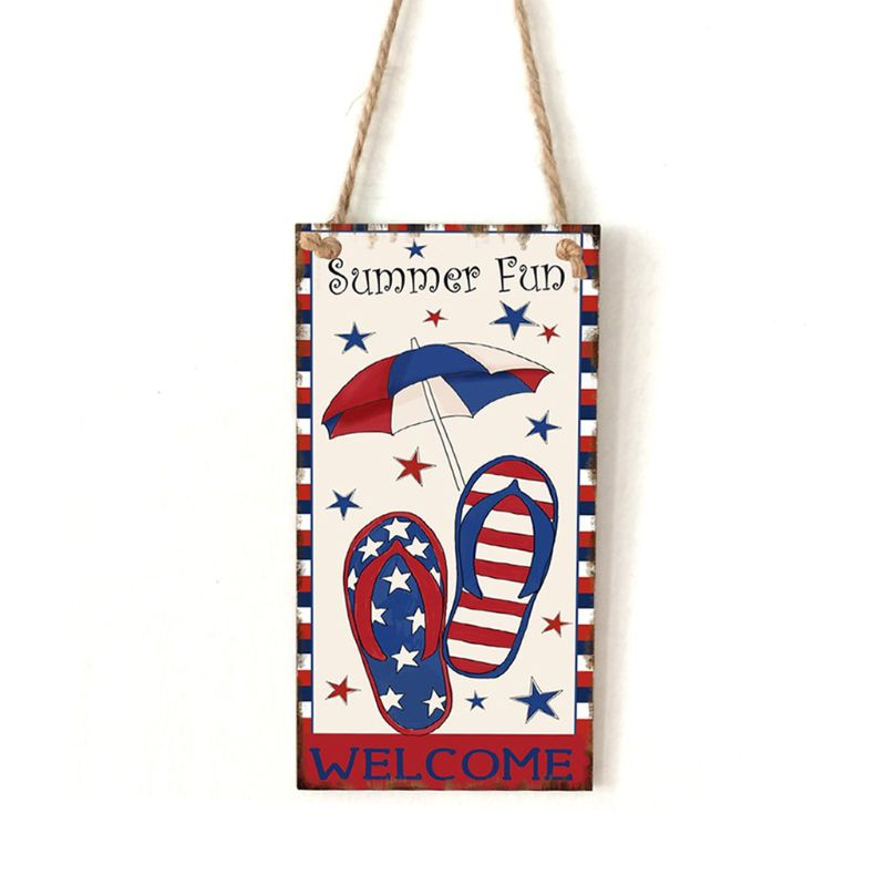 Vintage Wooden Hanging Plaque Welcome Summer Fun Sign Board Wall Door Home Decoration Independence Day Party Gift-in Plaques & Signs from Home & Garden
