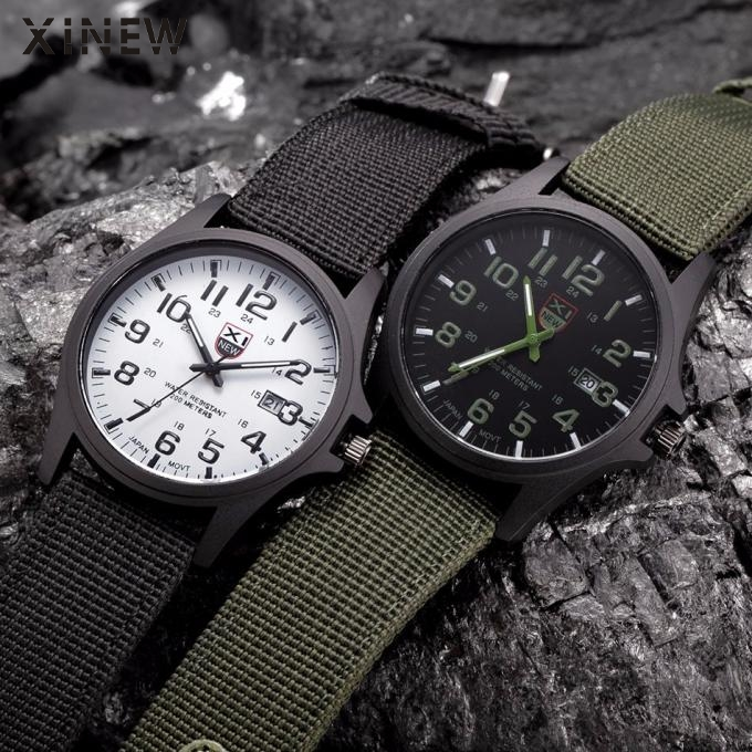 XINEW Watch Men Fashion Military Sports Watches Men Canvas Strap Analog Quartz Wrist Watch Horloge Heren Erkek Kol Saat 2020