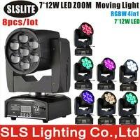 8 шт./лот 7 шт. 12 Вт Увеличить LED Moving головной свет новый продукт 7x12 Вт RGBW 4in1 высокой мощности привело перемещение головы зум, мини Увеличить пе