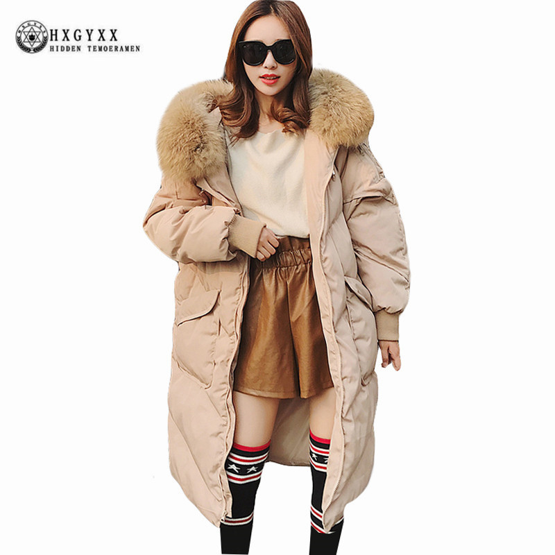 Big Fur Collar Women Winter Coat  Plus Size 2017 Long Loose Casual Hooded Quilted Jacket Solid Color Warm Military Parka Okb360