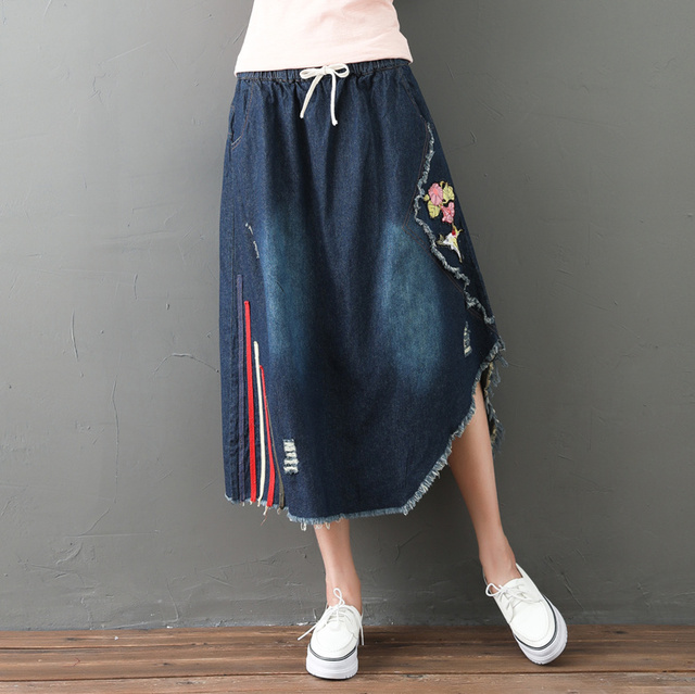 f8baa629909 Vintage Ethnic Boho Retro Irregular Embroidery Patchwork Denim Jeans Blue  Cotton Elastic Waist Long Women Spring