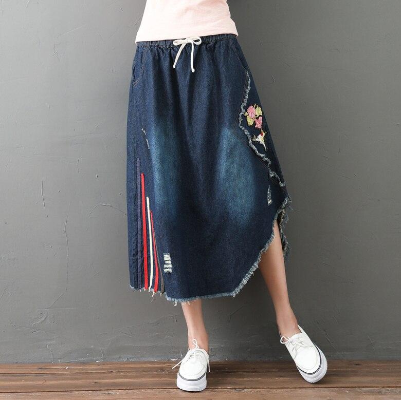 Vintage ethnique Boho rétro irrégulière broderie Patchwork Denim Jeans bleu coton taille élastique longue femmes printemps automne jupe