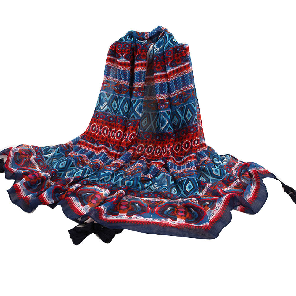 78adbecc74287 Women Tribal Printed Tassel Soft Long Stole Wrap Shawl Scarf Scarves Winter  Thin Long Scarves for Women Green Winter Poncho-in Women's Scarves from  Apparel ...