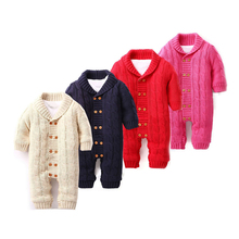 Baby Fashion Rompers Biys Girls Clothes Cotton Knitting Infant Jumpsuit Winter Upset Warm Solid Coat(China)