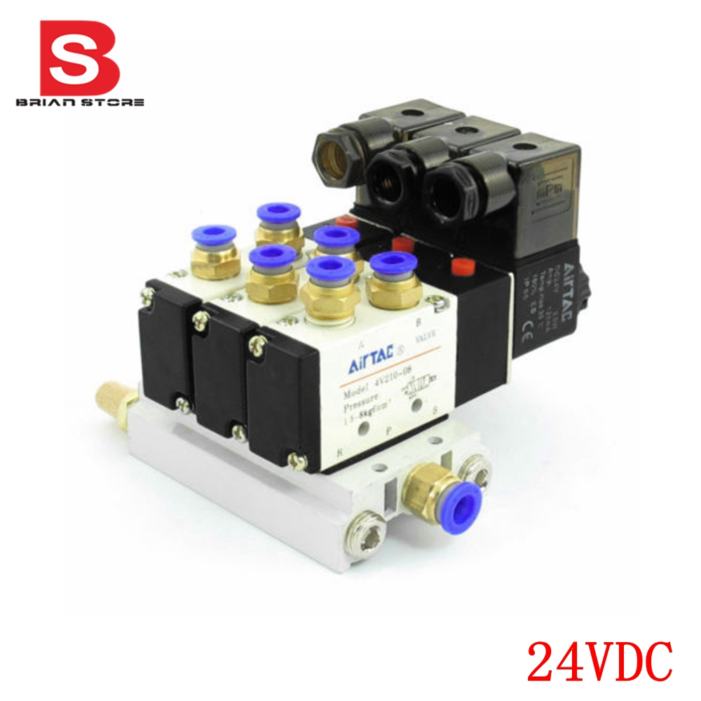 DC 24V 2 Positions 5 Way Triple Solenoid Valve Base 6mm Quick Fittings MufflersDC 24V 2 Positions 5 Way Triple Solenoid Valve Base 6mm Quick Fittings Mufflers