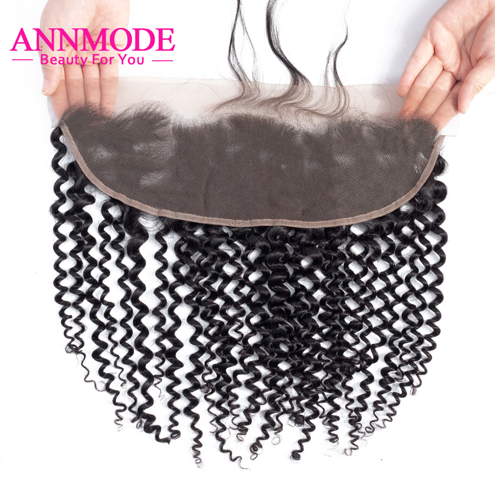 Annmode Indian Kinky Curly Hair 13*4 Lace Frontal Closure With Baby Hair 100% Human Hair Free Part Lace Closure Non Remy