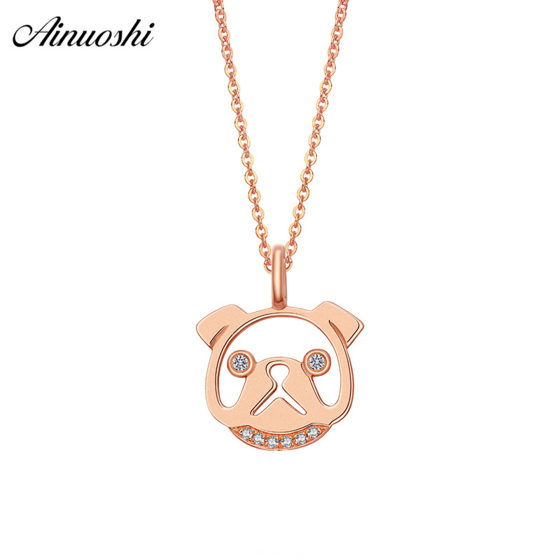 AINUOSHI Cute 18K Rose Gold Diamond Pendant Women 0.028ct Diamond Dog Head Pendants for Necklace Fine Jewelry Wedding Lover Gift