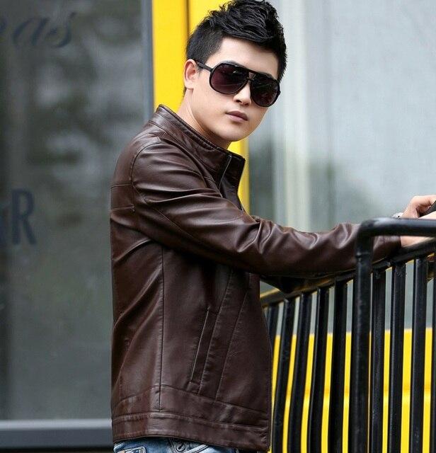 Manufacturer sales  Men Leather Jacket Goat Skin Fashion Brand Black Coffee Short Soft Men's Leather Coat Spring Autumn