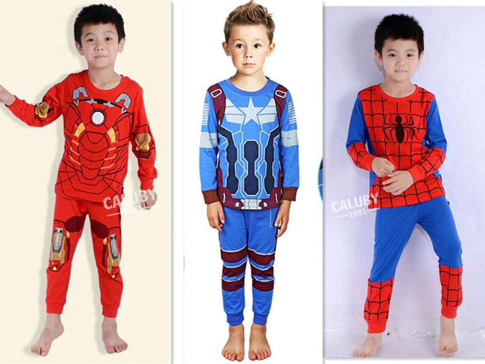 Boys Geyim dəsti uşaq pijama Spiderman Ironman paltar dəsti - Uşaq geyimləri - Fotoqrafiya 4