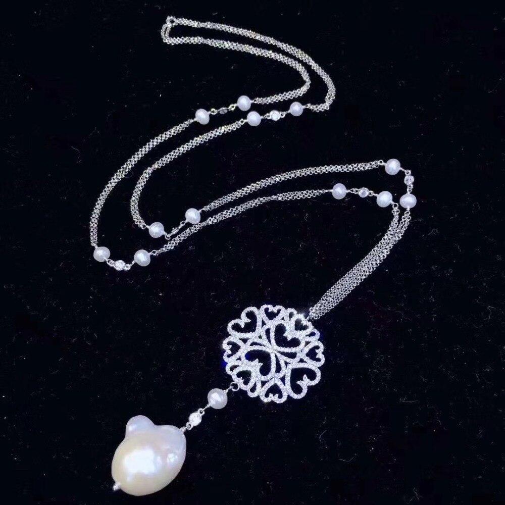 Baroque naturel d'eau douce pendentif en perles collier chandail collier à longue chaîne 925 en argent sterling zircon cubique 70 CM