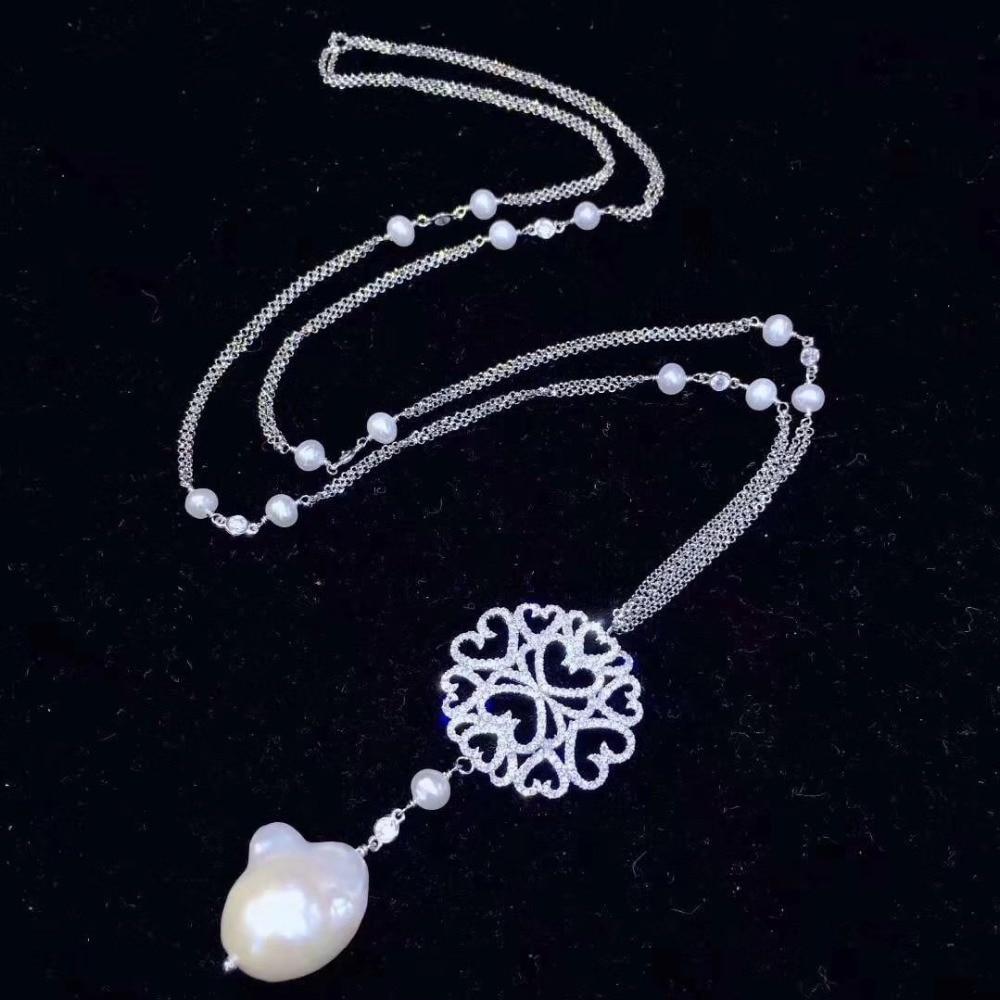 Baroque naturel eau douce perle pendentif collier chandail chaîne collier longue chaîne 925 argent sterling zircon cubique 70 CM