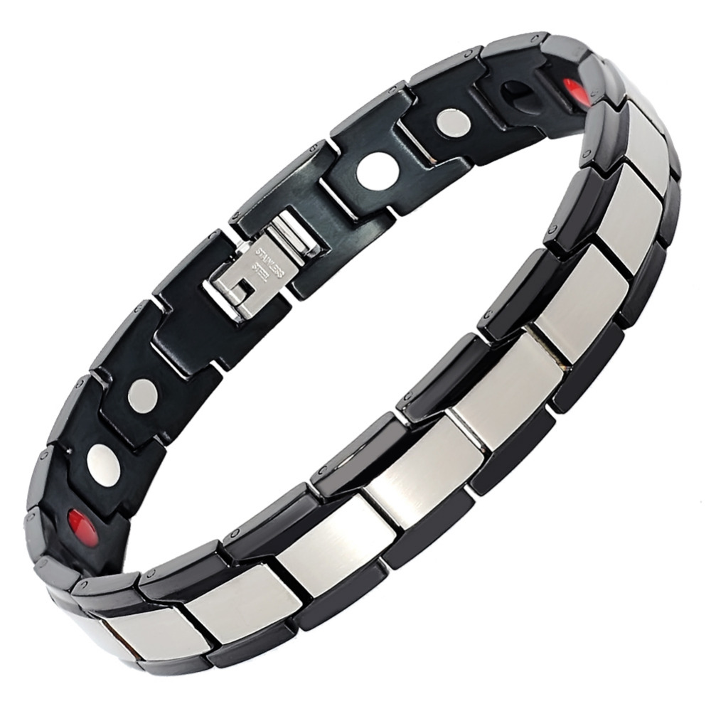 Hottime Mens Fashion Magnetic Stainless Steel Magnetic Bracelet Pain Relief for Arthritis
