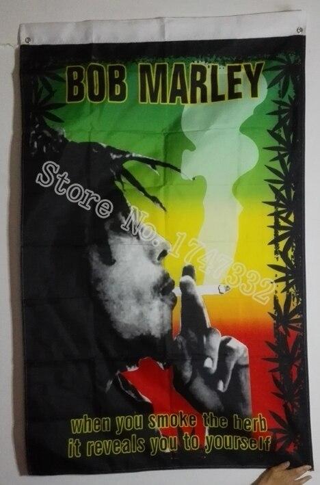 Bob Marley Jaica Rasta Steagul fierbinte vinde bunuri 3X5FT 150X90CM Banner găuri din alamă de metal