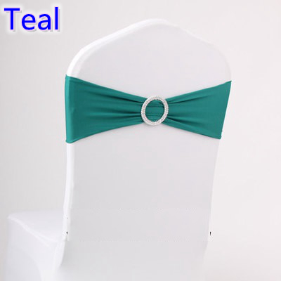 Teal colour on sale chair sash with Round buckles for chair covers spandex band lycra sash bow tie wedding decoration