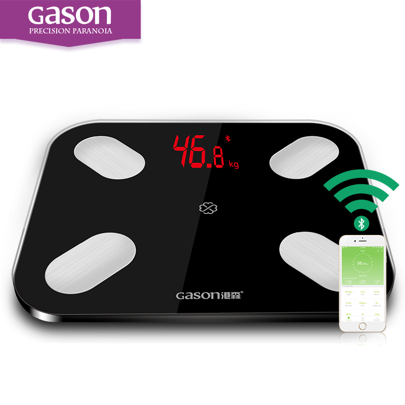GASON S4 LEVOU Banheiro Digital Body Fat Escala do assoalho Scalesmart pesando apoio IOS7.0 Android4.3 Bluetooth 4.0 A Perda de Peso de Gordura