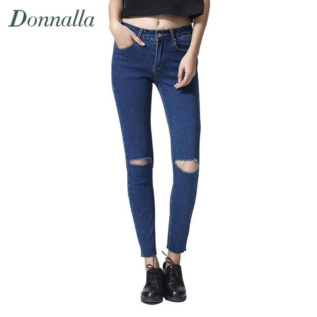High Waist Jeans Women Skinny Ripped Jeans Denim Trousers Fashion Pencil Jeans For Women Skinny Pants Women 2016 4 Colors 7 size