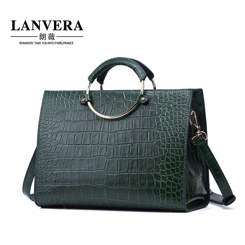 Women Bag Genuine Leather Luxury Alligator Grain Embossing High Capacity Cowhide Fashion Women Handbags Quality Shoulder Bag