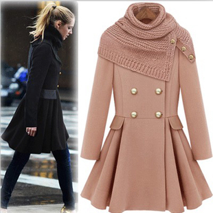 European women fashion expansion dress woolen overcoat Ladies ...