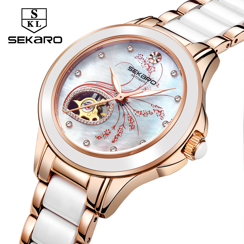 Sekaro Womens Mechanical Wristwatches Top Brand Luxury Rose Gold Ceramic Automatic Womens watches women fashion GiftSekaro Womens Mechanical Wristwatches Top Brand Luxury Rose Gold Ceramic Automatic Womens watches women fashion Gift