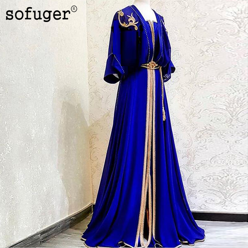Muslim Royal Blue Chiffon   Evening     Dresses   Golden Lace Appliques Half Sleeve Saudi Arabic Muslim Special Occasion Plus Size