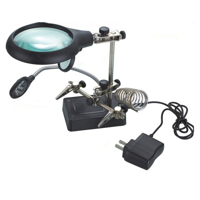 Light Magnifier & Desk Lamp Helping Hand Repair Clamp Alligator Auxiliary Clip Stand Desktop Magnifying Glasses