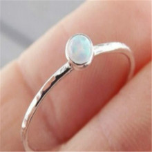 HOMOD Dainty Round Fire Opal Rings for Women Silver CZ Engagement in Copper Promise Ring For Valentines Day Gifts