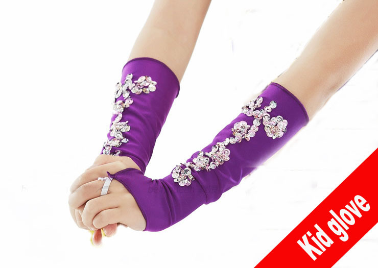 Kid Gloves Flower Girl Gloves Long Gloves Girl Dancing Costume Gloves Free Shipping Wholesale Weddings & Events Bridal Gloves