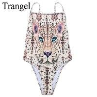 Trangel Brand One Piece Swimsuit 2017 Animal Leopard Tiger Printed Bikini Women Sexy Swimwear High Cut