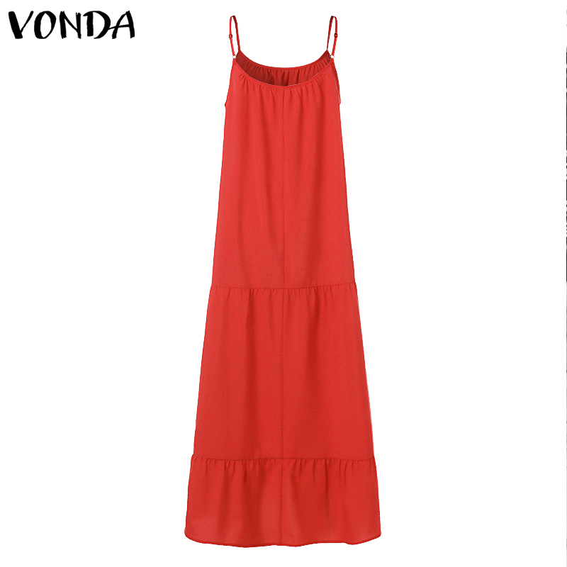 VONDA Bohemian Dress Women 19 Summer Sexy Sleeveless Spaghetti Strap Ruffle Swings Maxi Long Dresses Holiday Vestido Plus Size 18