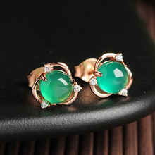 925 Silver Inlay Natural Green Chalcedony Stud Earrings Original Flower Shaped Egg Face Womens Simple