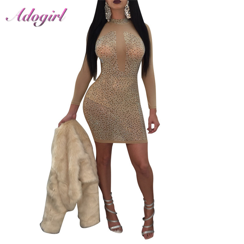 Adogirl  Sexy Sparkle Diamonds Sheer Mesh Party Dress Woman Elegant Long Sleeve Bodycon Mini Curve Dresses Female Vestidos