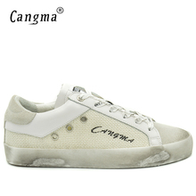 CANGMA Original Luxury Casual Shoes White Sneakers Men Basse Cow Suede Leather Handmade Man Leisure Shoes Italian Hemp Schoenen