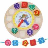 Madeira relógio de geometria digital brinquedos educativos brinquedo menino brinquedos de madeira para o bebê menino menina blocos de madeira brinquedos para crianças