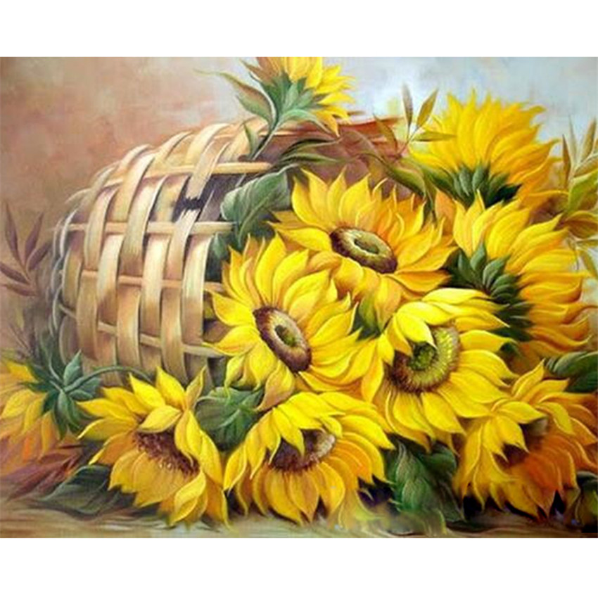 DIY Digital Painting By Numbers Package Sunflower basket oil painting mural Kits Coloring Wall Art Picture Gift frameless
