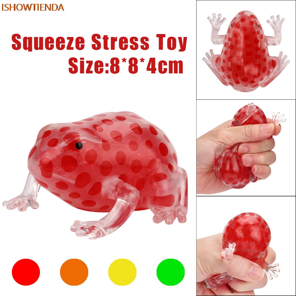 Novelty 8cm Bead Stress Ball Sticky Squeeze Frogs Stress Relief Squeeze Toy Stress Relief Cute Squishy Toy Drop Shipping цена 2017