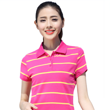 2017 Summer New Arrivals Fashion Short Sleeve Striped Slim Tops Womens Casual Simple Polo Shirt Ladies Cotton Striped Polo shirt