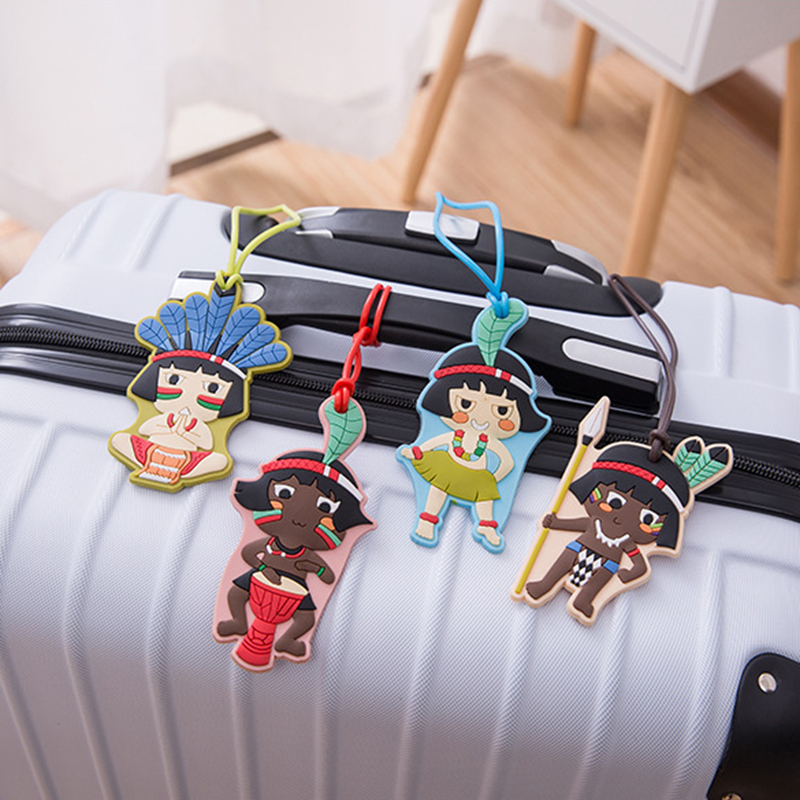 Travel Accessories Cartoon Doll Suitcase Luggage Tag ID Address Holder Baggage Label Organizer Cute Silica Gel Women Identifier(China)