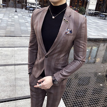 Korean version of the men's striped suit two sets of 2018 new clothes night tide coat Slim suit male groom wedding suite