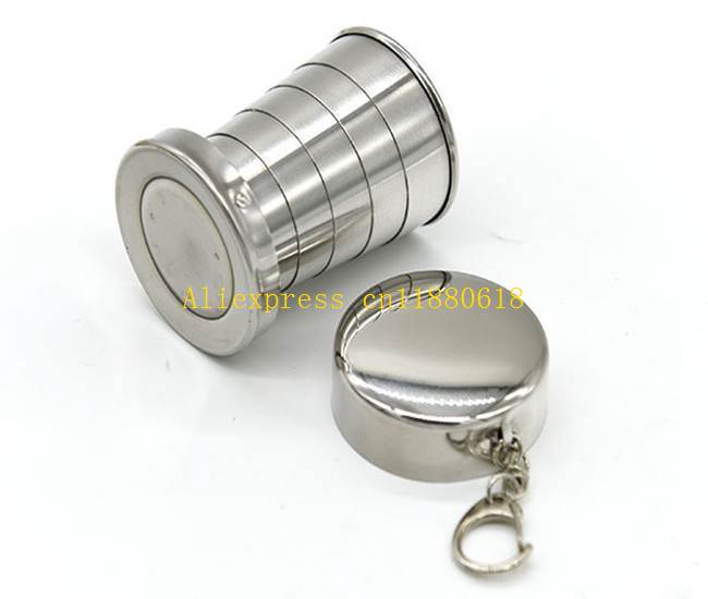 100pcs lot 70ML Stainless Steel Portable Folding Telescopic Collapsible Outdoor Travel Cup Mug Keychain Hiking