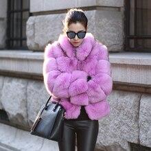 UPPIN новейшая трендовая розовая коричневая шуба уличная женская элегантная Шубы из искусственного лисьего меха Толстая теплая зимняя меховая куртка для девочек
