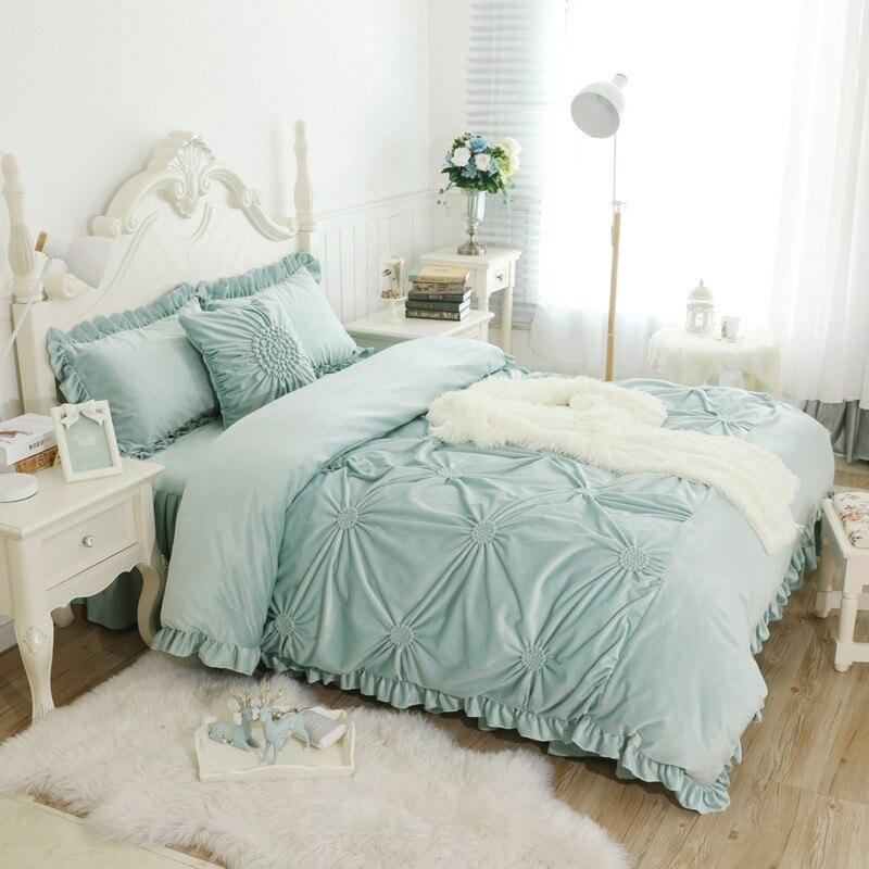 High-quality warm Purple Blue Pink Green Crystal velvet Duvet Cover Bedding  Sets Bed sheet