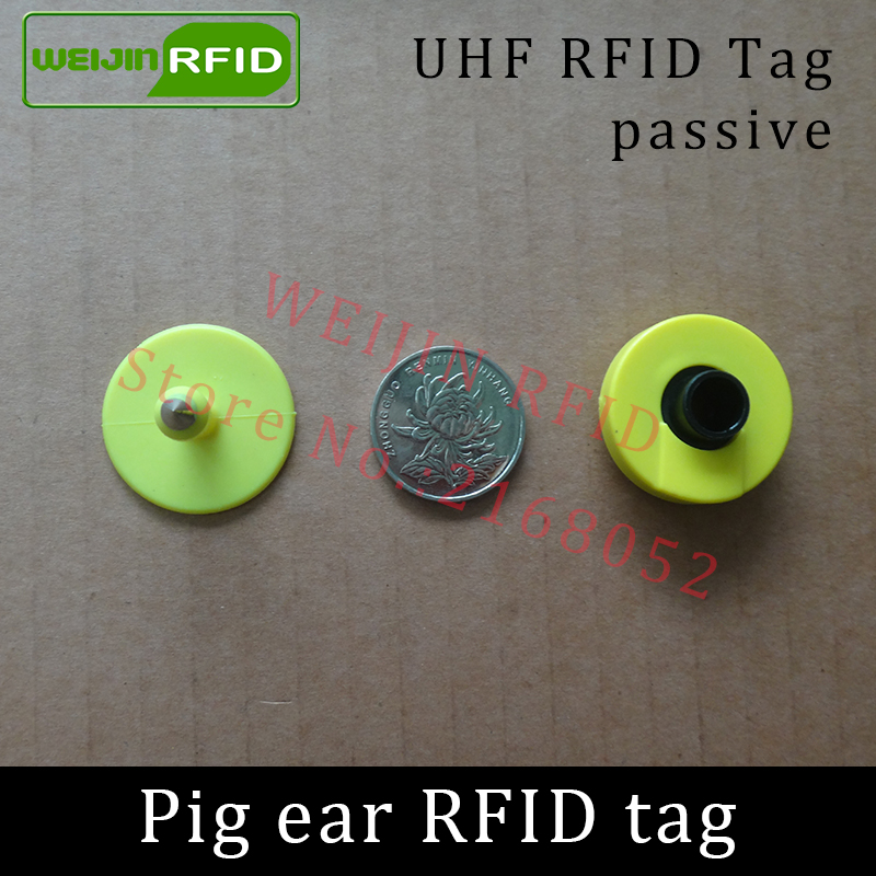 UHF rfid tag tracing electronic Animal ear tag EPC Gen2 ISO18000-6C 915m 868m 860MHz-960M alien higgs3 circular rfid pig ear tag 134 2khz rfid animal identification round pig ear tag for livestock animal tracking and indentification 500pcs lot good quality