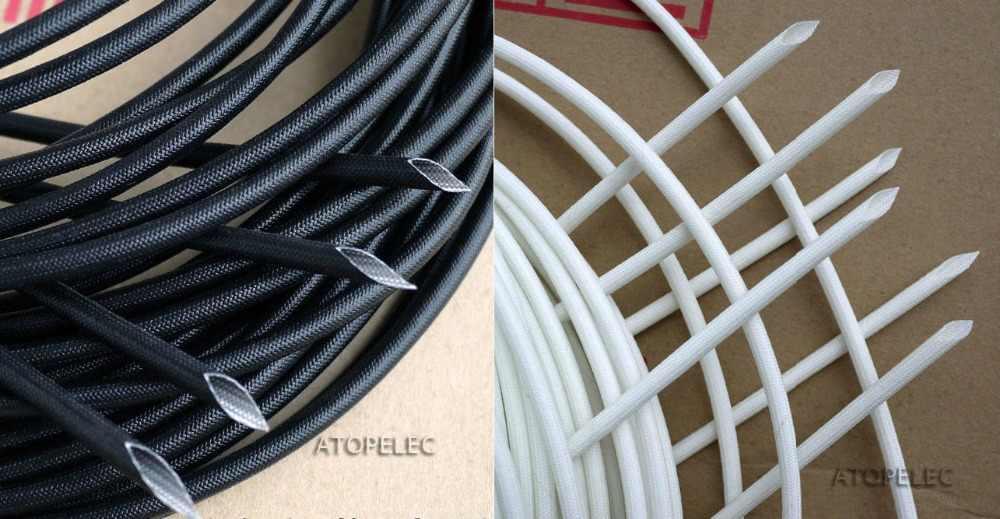Braided Fiber Glass Fiberglass 1200V 200 Deg.C Tube High Voltage Sleeving 1mm/2mm/3mm/4mm/5mm/6mm/8mm/10mm/12mm/14mm/16mm/20mm