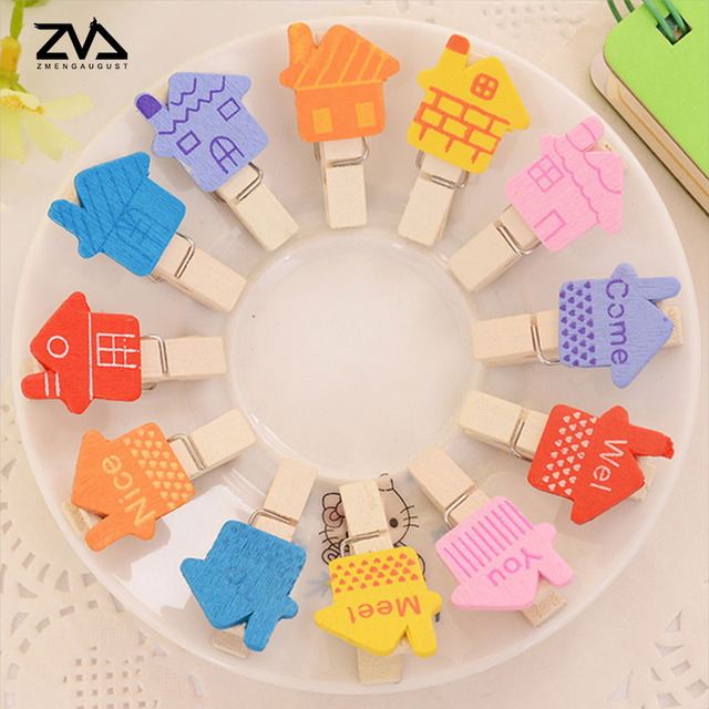 12pcs Bag Korea Cartoon Spring Wood Clips Cute Stationery Party Decoration Photo Paper Craft Diy